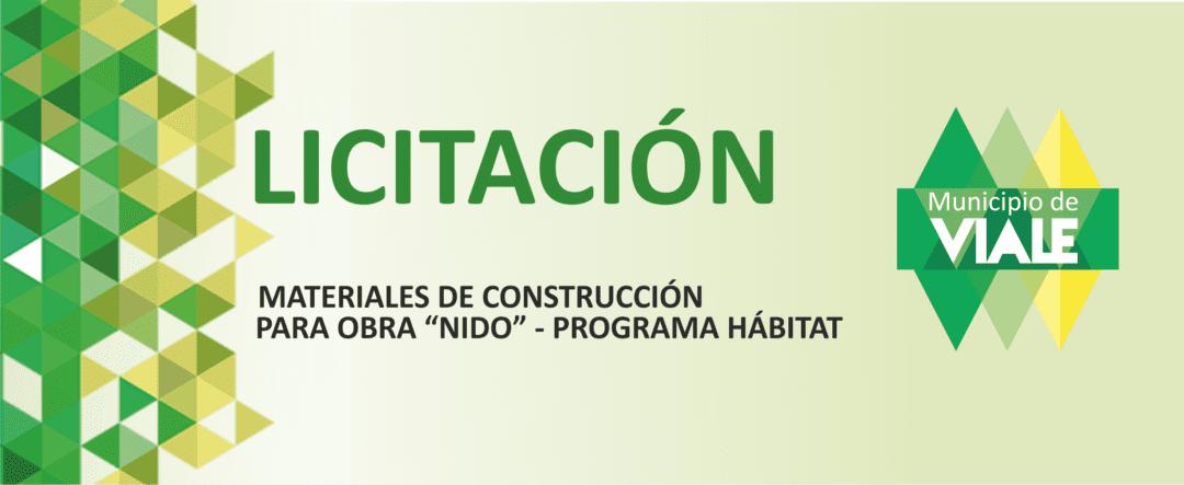 Convocan a Licitación para compra de materiales de construcción