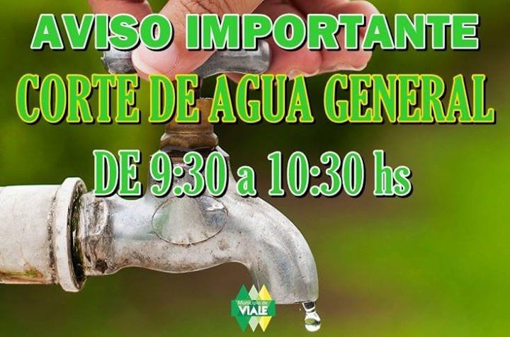 Hoy habrá un corte de agua de 9:30 A 10:30 hs